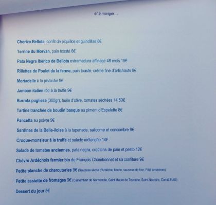 Comestibles_Paris_Food Menu