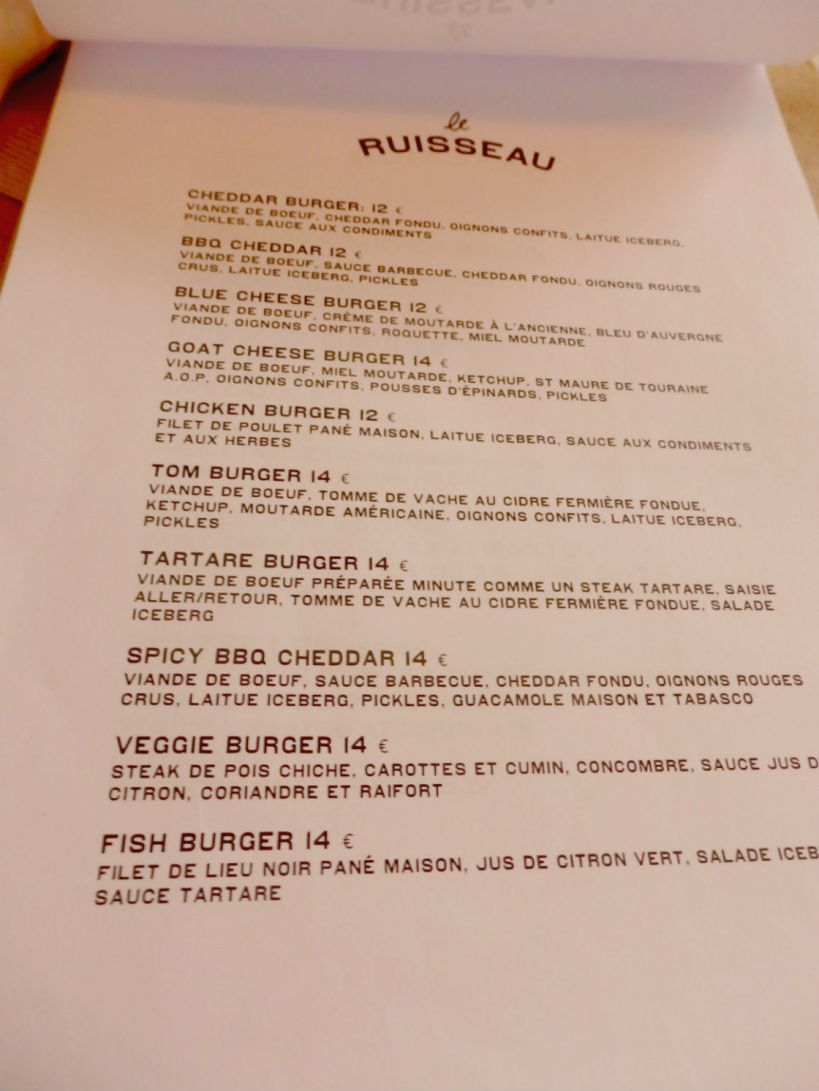 Le Ruisseau_Paris_Burger menu
